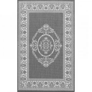 Gray White Medallion Indoor Outdoor Area Rug 5'10 x 9'2
