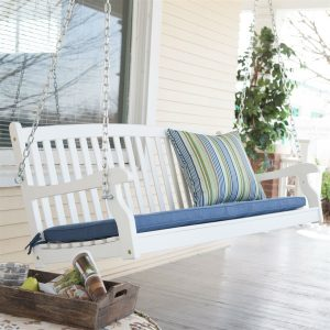 swing, porch swing, wood porch swing, patio swing, outdoor chair, outdoor seating, front porch, porch swing