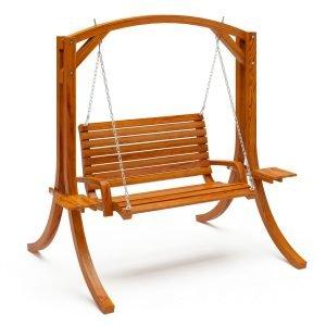 Heavy Duty Rustic Solid Wood Porch Swing Cinnamon Brown