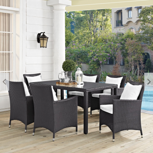 7 piece outdoor patio dining set white cushions