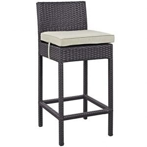 Rattan bar stool with beige cushion