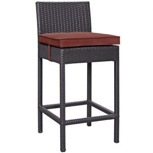 Rattan Bar Stool with Espresso Currant Cushion