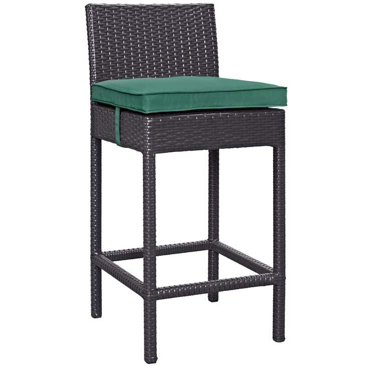 Rattan Bar stool with Dark Green cushion