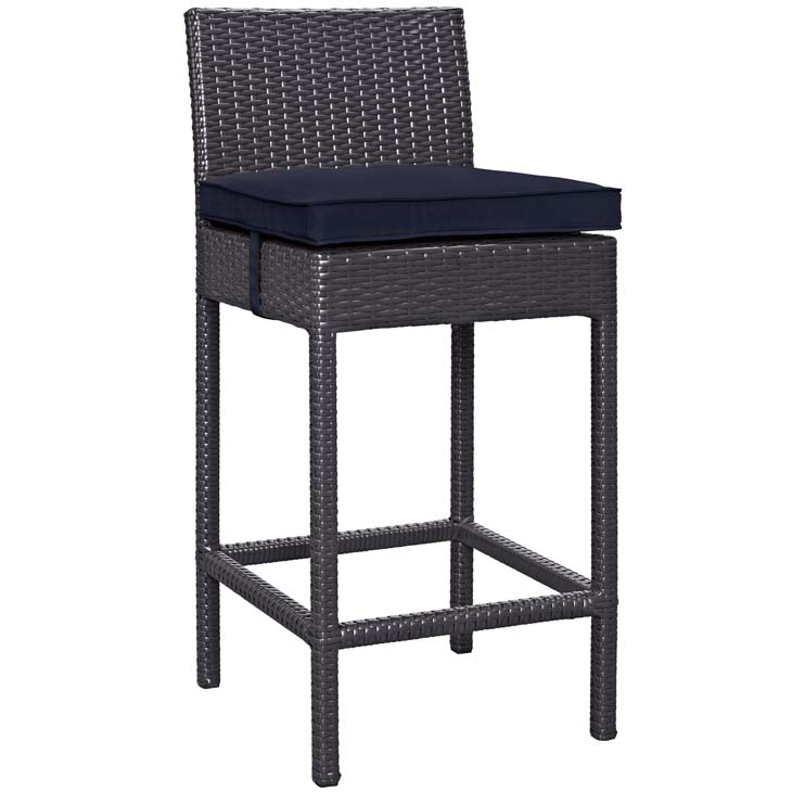 Rattan Bar Stool with Navy Blue Cushion