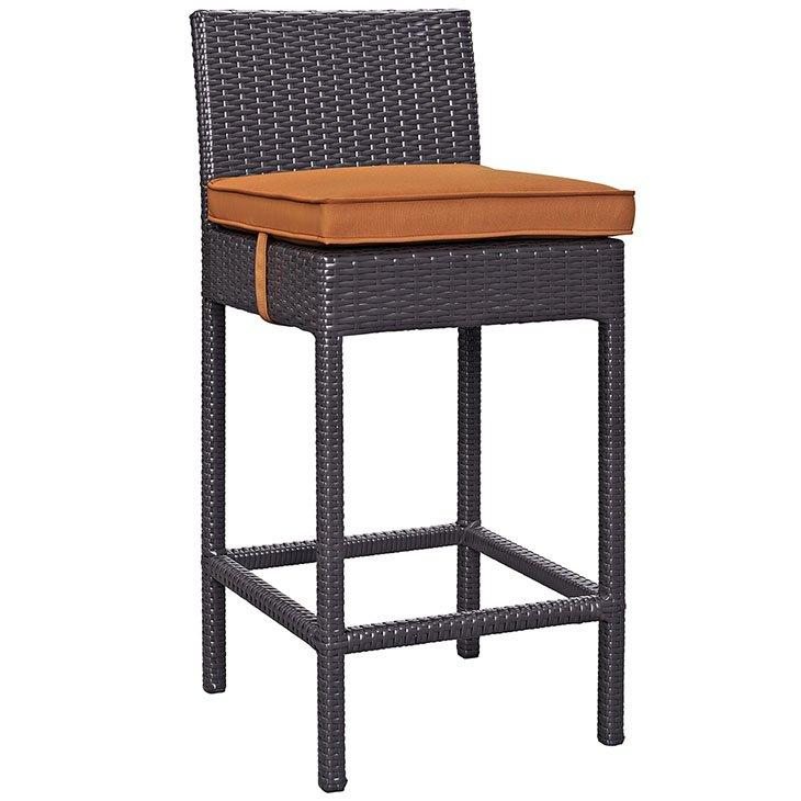 Rattan bar stool with orange cushion