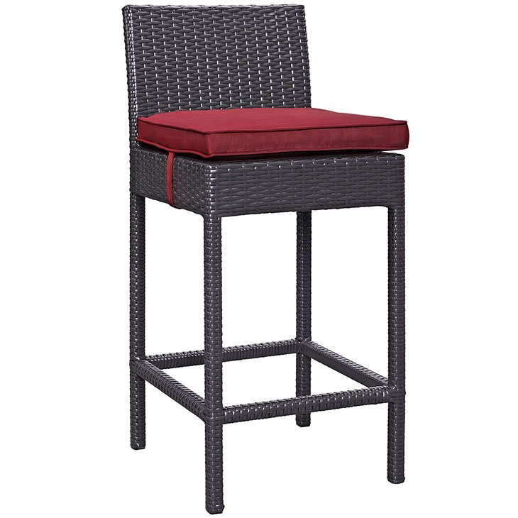 Rattan Bar Stool with Red Cushion