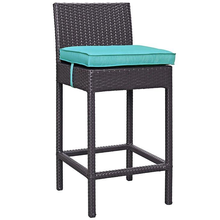 Rattan bar stool with turquoise cushion