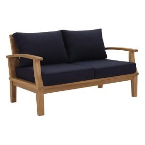 OUTDOOR PATIO TEAK LOVESEAT IN NATUAL NAVY