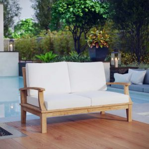 Teak Outdoor Loveseat with White Cushions