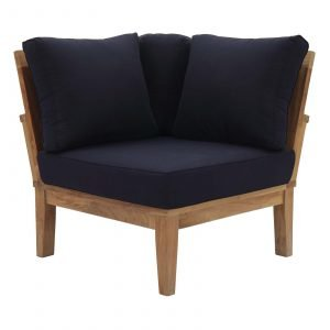 Teak Set Corner Chair in Navy
