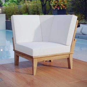 Teak Sofa Sectional Corner Chair with White Cushions