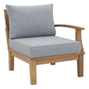 Left Arm Teak Armchair in Gray