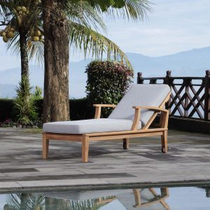 Outdoor Patio Teak Single Chaise in Natural Gray