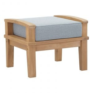 OUTDOOR PATIO TEAK OTTOMAN IN NATURAL GRAY