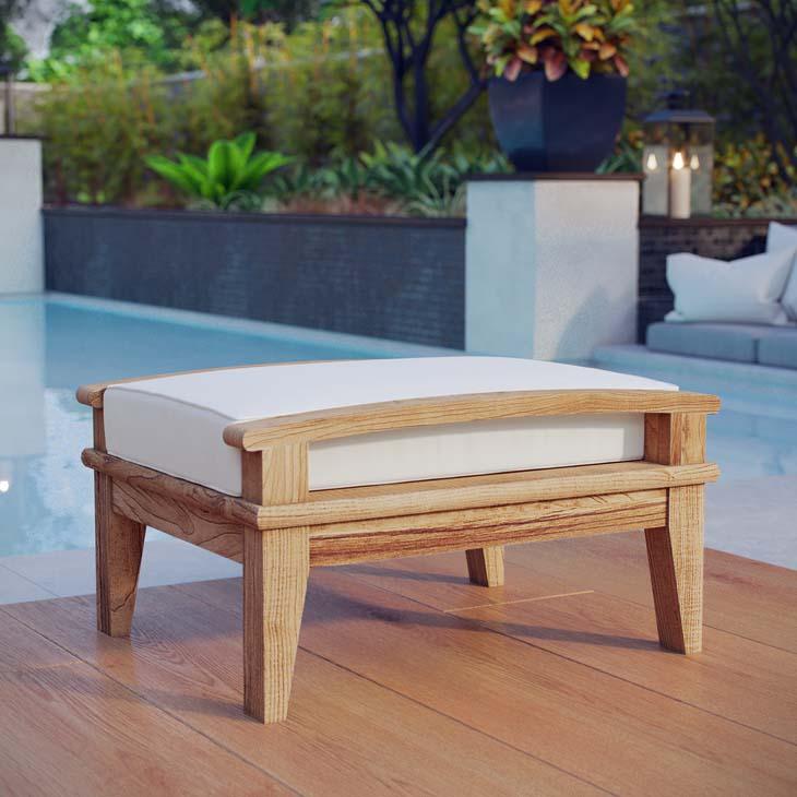 Outdoor teak ottoman with White Cushion