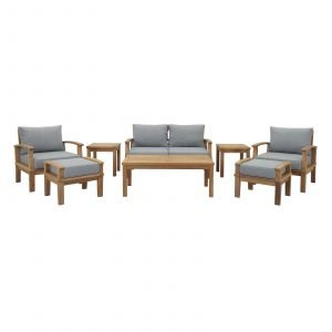 Teak Patio Furniture Set in Gray