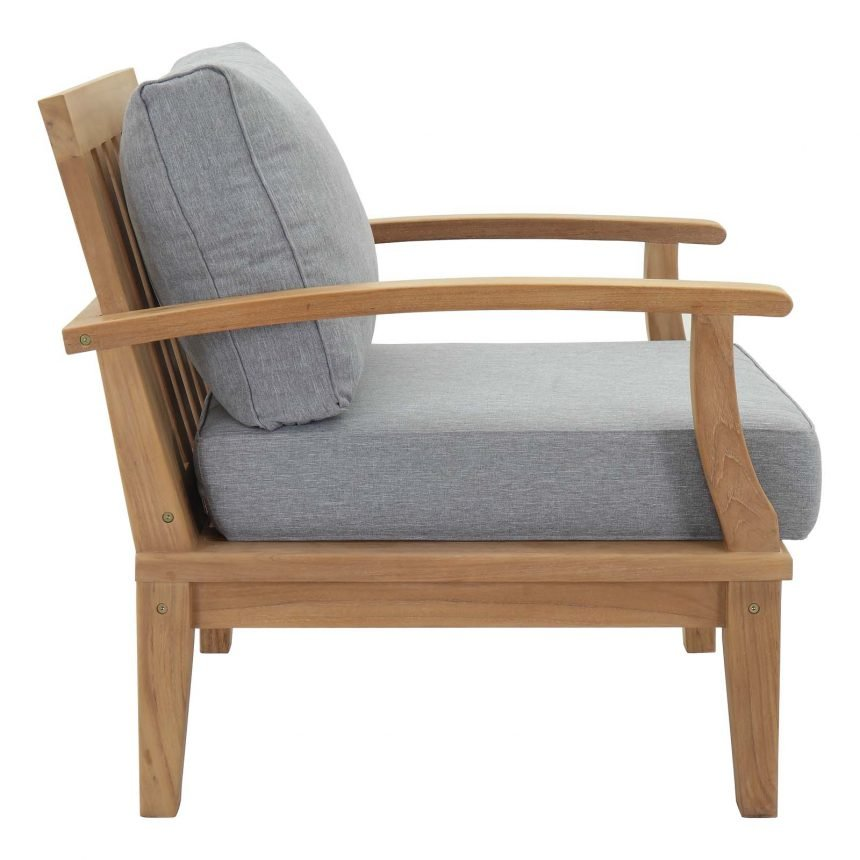 Teak Armchair in Gray