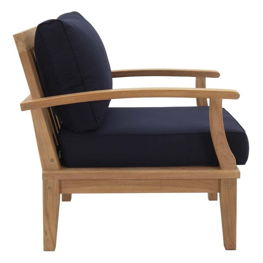 Teak Armchair in Navy Blue