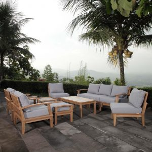 10 Piece Outdoor Patio Teak Set in Natural Gray Cushions EEI-1480