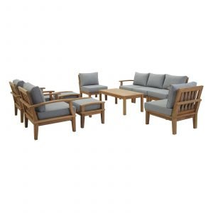 10 Piece Outdoor Patio Teak Set in Natural Gray EEI-1480