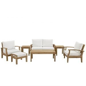 7 PIECE OUTDOOR PATIO TEAK SET IN NATURAL WHITE
