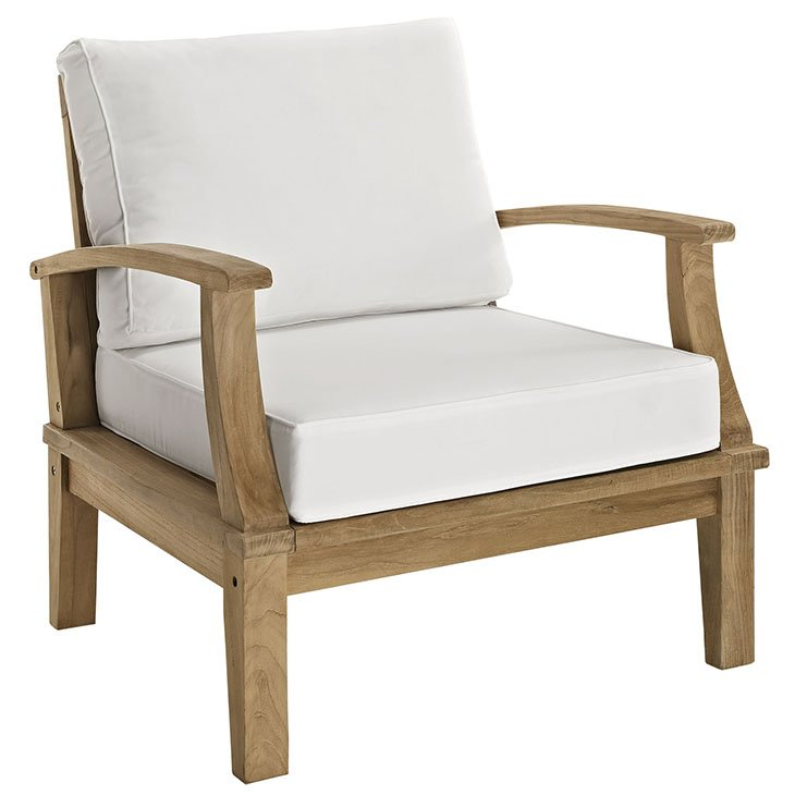 OUTDOOR PATIO TEAK ARMCHAIR IN NATURAL WHITE