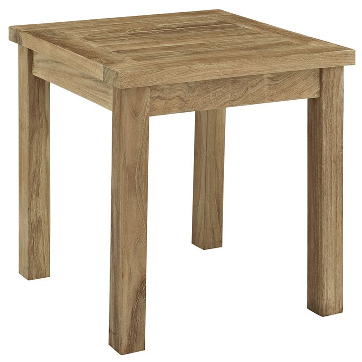 OUTDOOR PATIO TEAK SIDE TABLE IN NATURAL WHITE