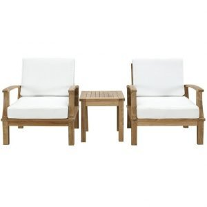 3 PIECE OUTDOOR PATIO TEAK SET IN NATURAL WHITE