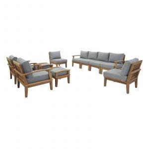 Teak Patio Furniture Set in Gray