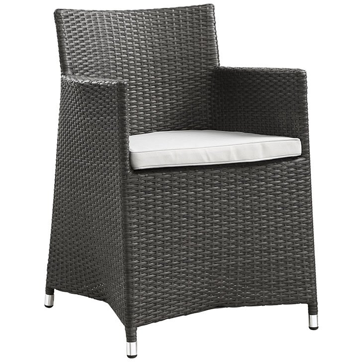 Rattan patio dining chair in brown and white