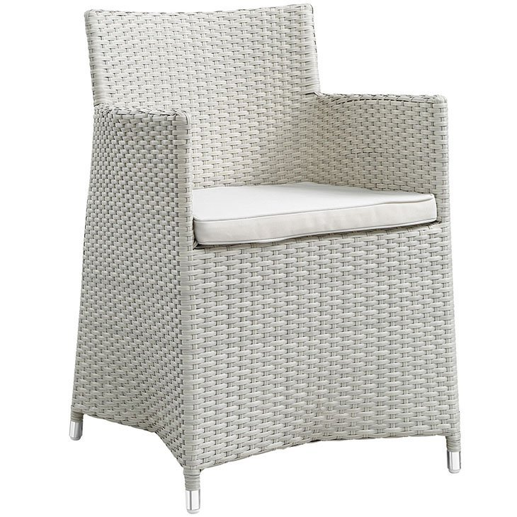 Rattan patio dining chair in gray and white