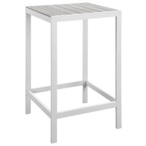 outdoor patio bar table in white gray