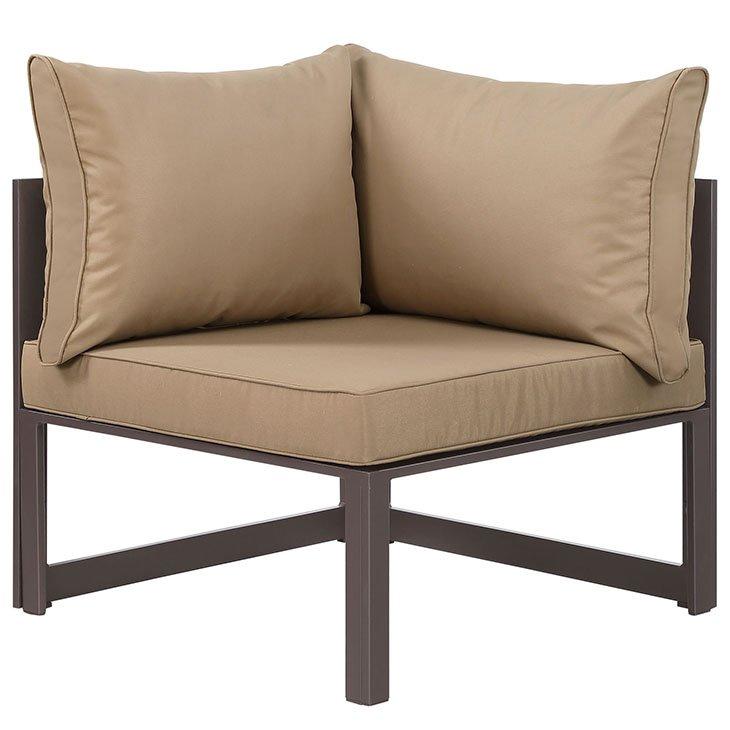Corner Outdoor Patio Armchair in Brown Mocha