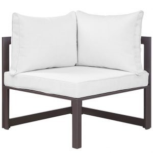 Corner Outdoor Patio Armchair in Brown White