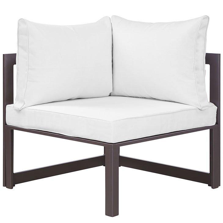 Corner Outdoor Patio Armchair in Brown White