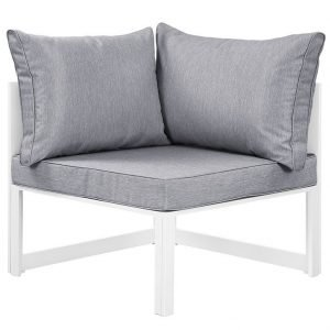 Corner Outdoor Patio Armchair in White Gray
