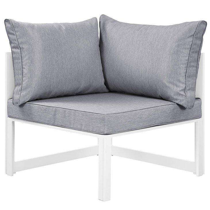 Corner Outdoor Patio Armchair in White Gray