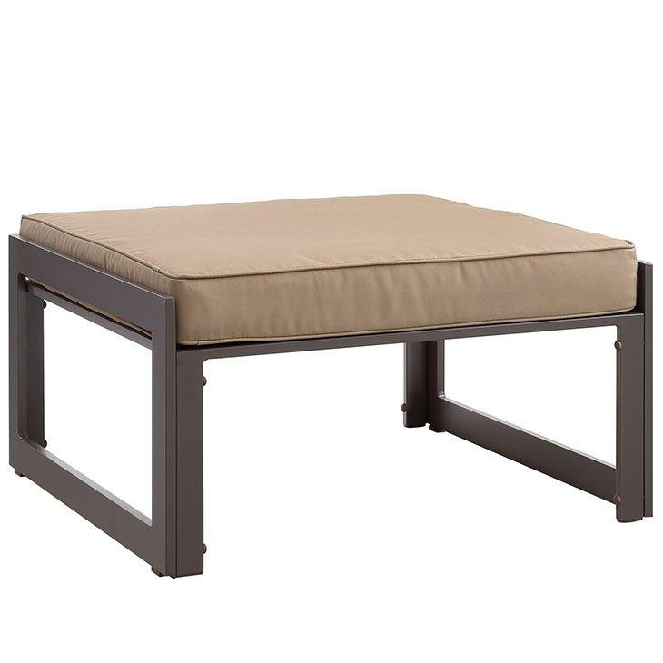 Aluminum Patio Furniture Brown Ottoman with Mocha Cushion