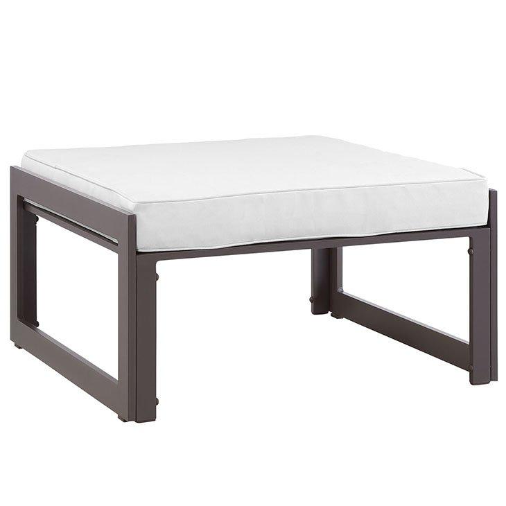 Aluminum Patio Furniture Brown Ottoman with White Cushion