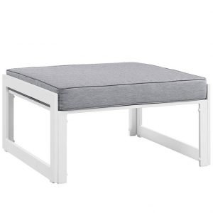 Aluminum Patio Furniture White Ottoman with Gray Cushion