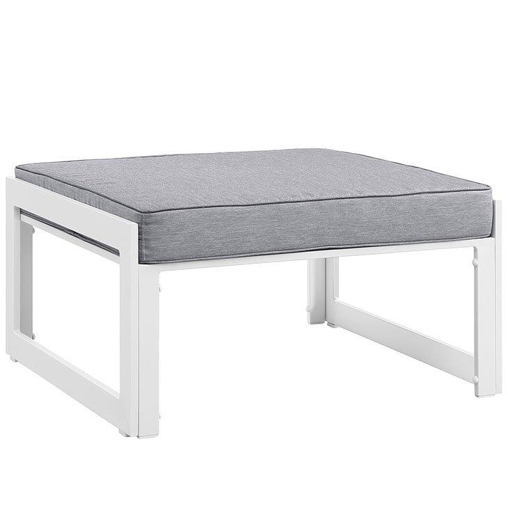 Aluminum Patio Furniture White Ottoman with Gray Cushion