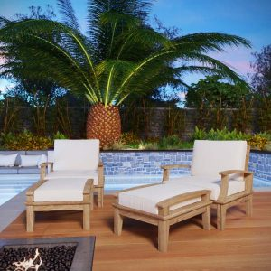 4 PIECE OUTDOOR PATIO TEAK SET IN NATURAL WHITE