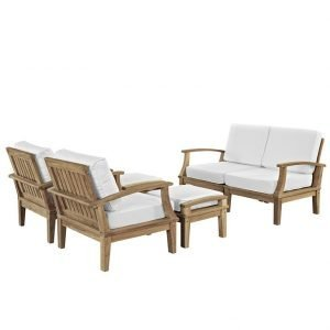 6 PIECE OUTDOOR PATIO TEAK SET IN NATURAL WHITE