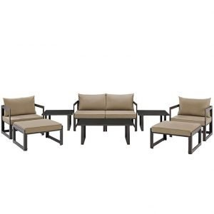 9 Piece Outdoor Patio Sectional Sofa Set in Brown Mocha