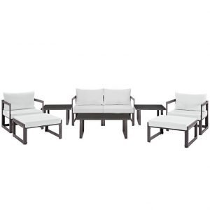 9 Piece Outdoor Patio Sectional Sofa Set in Brown White