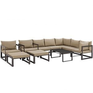 10 Piece Outdoor Patio Sectional Sofa Set in Brown Mocha