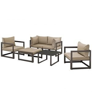 6 Piece Outdoor Patio Sectional Sofa Set in Brown Mocha