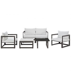 6 Piece Outdoor Patio Sectional Sofa Set in Brown White