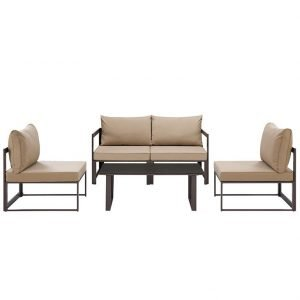 5 Piece Outdoor Patio Sectional Sofa Set in Brown Mocha