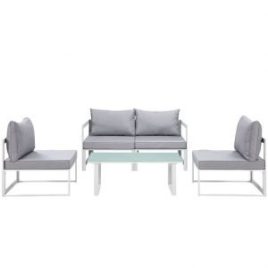 5 Piece Outdoor Patio Sectional Sofa Set in White Gray